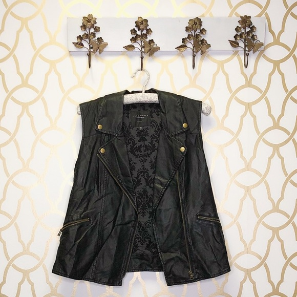 Sanctuary Jackets & Blazers - Sanctuary Faux Leather Edgy Vest in Black